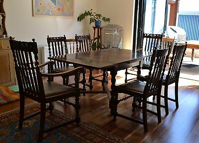Antique oak Jacobean Table & Six chairs