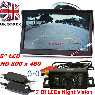 """7LEDs Wireless IR Reversing Back up Rear View Camera +5"""" Color LCD Car Monitor"""
