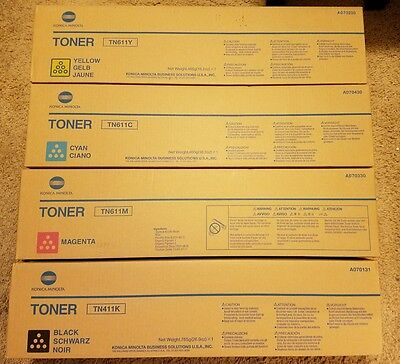 Lot of 4 Genuine Konica TN611C TN611M TN611Y TN411K CMYK Full Toner set for C451