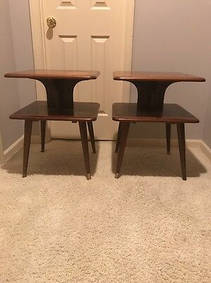 Mid Century Modern Pair of  2 Tiered End Tables Wood for Refurbishing 1950-60s