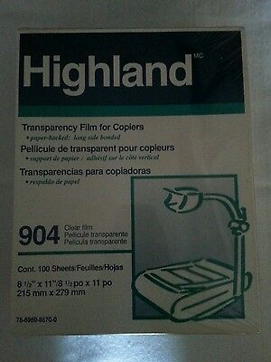 Highland 904 Film Transparency laser copiers Sheets 100 ct 2 boxes J2