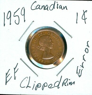 1959 CANADA 1 Cent CLIPPED PLANCHET RIM ERROR..