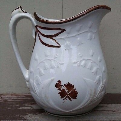 Anthony Shaw - Antique Embossed Lily Ironstone Copper Lustre Tea Leaf Pitcher