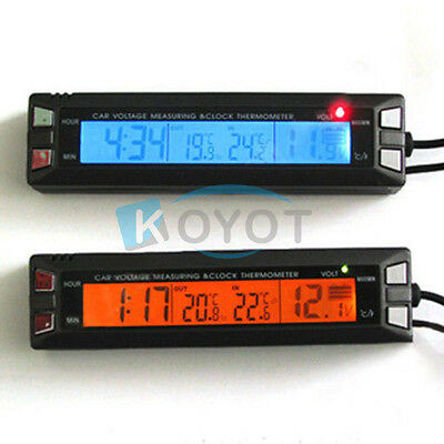 Digital LCD Auto Car Temperature Thermometer&Clock Voltage Meter Monitor 2019 KY