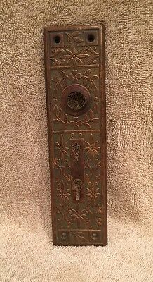 Antique Stamped Brass Victorian Door Knob Back Plate Escutcheon Double Key