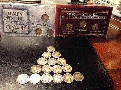 Mercury Dime Lot (20) Many In The 1920's plus Barber Dime and Roosevelt Dime