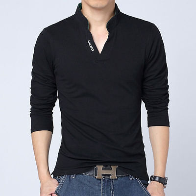 New Men's POLO Neck Long Sleeve T-Shirt V Neck Casual Tee Tops T-shirts M-5XL