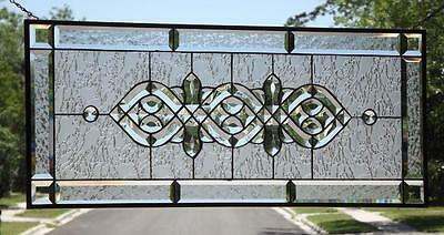 """• Clear Reflections •Beveled Stained Glass Window Panel • 34 ½""""-14 ½"""" (88x37cm)"""