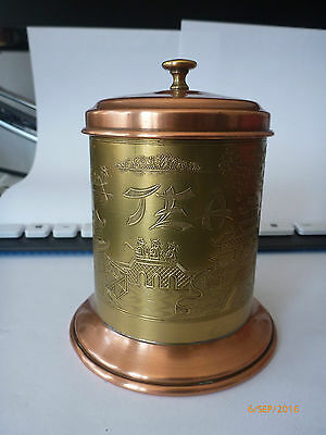 Antique Tea Caddy  Brass and Copper Asian
