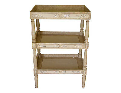 Julia Gray Three Tier Side Table with Hand Painted Details