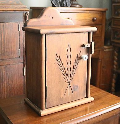 Antique Habersham Plantation Wall Spice Cabinet with Beautiful Wheat Carving