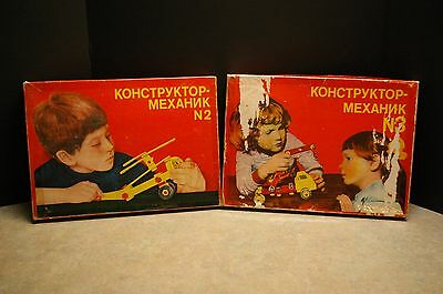 Rare #2 & 3 'kohctpyktop' Soviet Era Ussr Russian Erector Construction Sets #2&3
