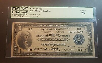 1918 $ 1 Graded St.louis Fed Reserve Bank Note