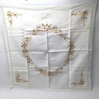Vintage Embroidery Square Tablecloth Brown Floral Beautiful Lace Edge Crosstitch