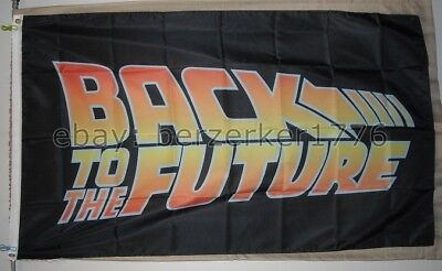 Back To The Future logo 1980's 3'x5' black Flag Marty McFly USA Seller Shipper