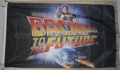 Back To The Future poster 1980's 3'x5' black Flag Marty McFly USA Seller Shipper