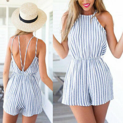 Women Jumpsuit&Romper Clubwear Halter Playsuit Bodycon Party Trousers Backless