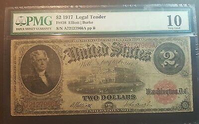 1917 $ 2 Note Graded Pmg Large Note Very Rare