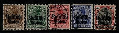 1915 GERMANY WAR(occ. of poland)STAMP(F.USED) S.G.1-5