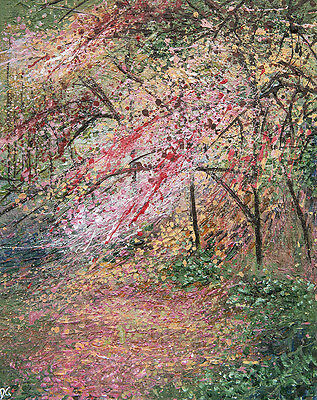 Blossom in the Park Woodland Original Acrylic Landscape Painting Canvas Board