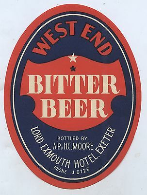 C.1940's West End Bitter Beer Label Bottled Moore Lord Exmouth Hotel Exeter Sa.