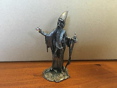 Pewter Wizard Holding a Crystal and Staff
