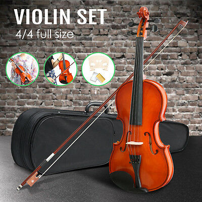 Full Size 4/4 Natural Acoustic Wooden Violin Beginners/Practice Violin Set NEW