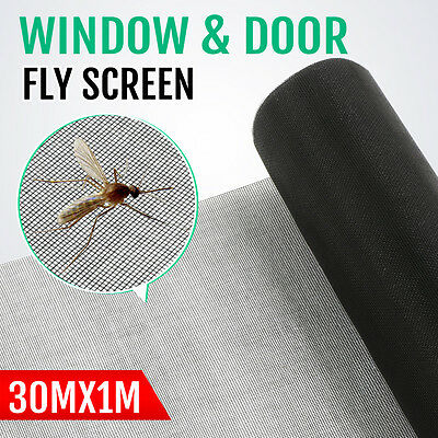 Roll Insect Flywire Window Fly Screen PVC Net Mesh Screen Black 10FT/30M