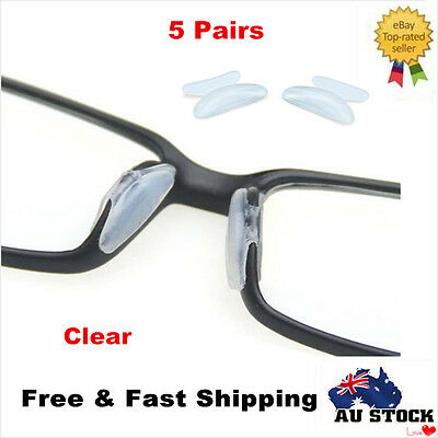 5 Pairs Clear Soft Silicone Stick On Nose Pads Holders Eyeglass Sunglasses