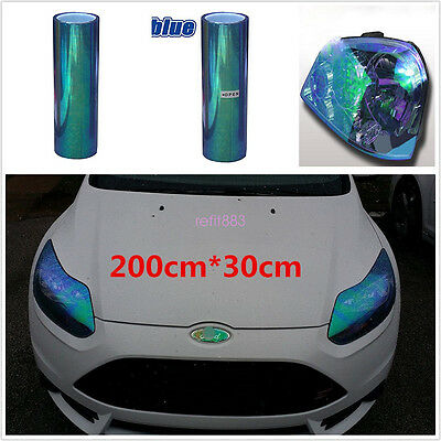 200x30cm Chameleon Colorful Blue Car Headlight Tail Fog Light Vinyl Tint Film
