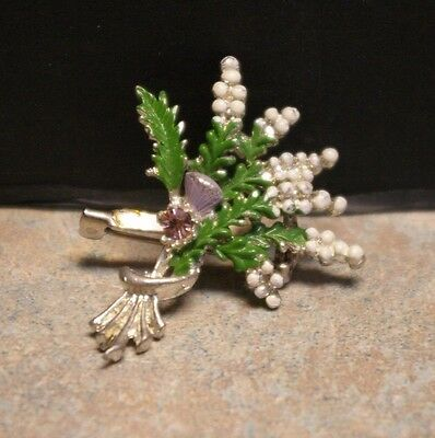 Vintage 'scottish Thistle' Painted Enamel White Metal Pin Back Brooch