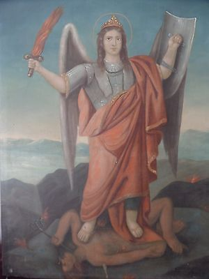 Antique 19th Century Oil on Canvas Painting Angel Archangel Slaying Devil  Satyr