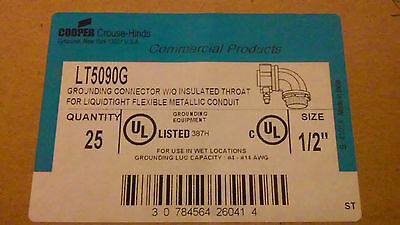 Crouse-Hinds LT5090G SA Liquidtight 1/2 inch 90-degree Connector (Box of 25)