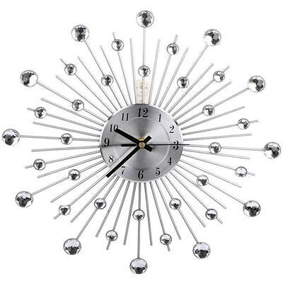 33cm Handcrafted Diamante Beaded Jeweled Sunburst Black Silver Wall Clock 122 AU