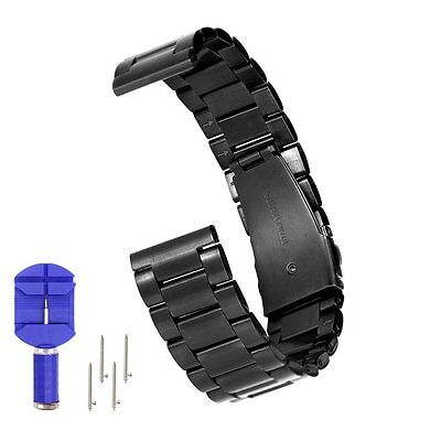 Watch Band Stainless Steel Adjustable Strap with Arc Metal Buckle for Moto 360