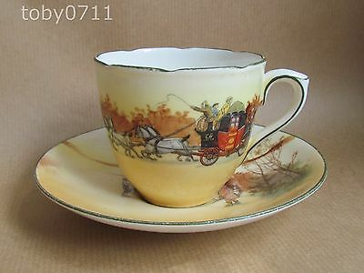 ROYAL DOULTON COACHING DAYS / SCENES E3804 CUP & SAUCER DATED 1922 (Ref1965)