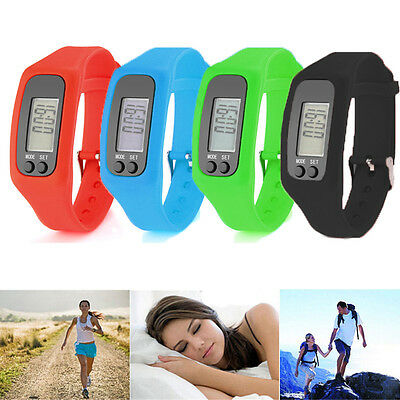 Lcd Pedometer Wrist Watch Bracelet Sport Calorie Step Walking Counter Fitness