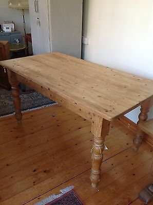 Vintage pine kitchen/ dining farmhouse table with drawer