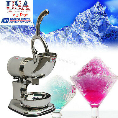 FULL Stainless Ice Shaver Machine Snow Cone Maker Shaved Icee Electric Crusher