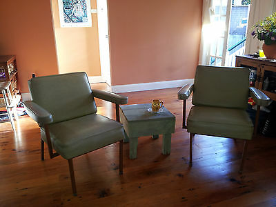 Pair of vintage retro Mid century modern armchairs + coffee table