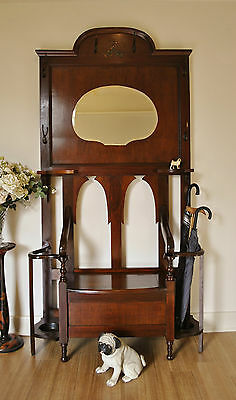 Antique Art Nouveau Blackwood Hall Stand / Hat Coat Stand / Lift Top Hall Seat
