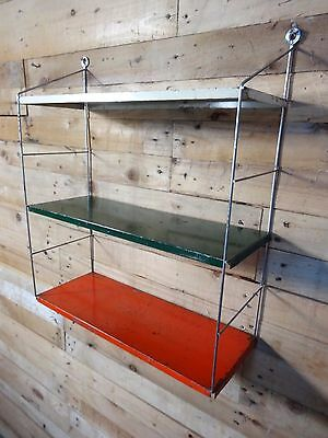 1960s RETRO VINTAGE  STRING/DUTCH COLOURED METAL TOMADO WALL SHELVING (B23)