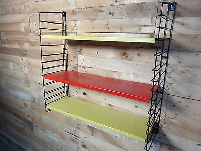 1960s RETRO VINTAGE  STRING/DUTCH COLOURED METAL TOMADO WALL SHELVING (B21)