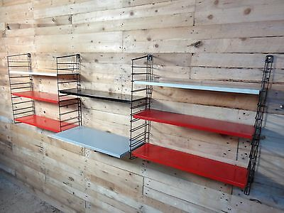 1960s RETRO STRING/DUTCH COLOURED METAL LARGE TOMADO DESK / WALL SHELVING (B17)