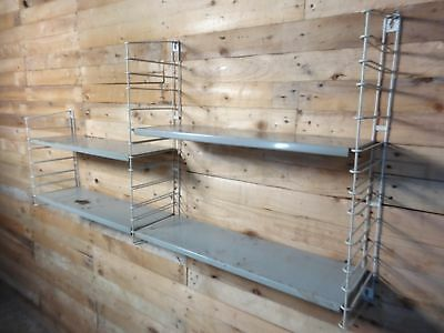 1960s RETRO VINTAGE  STRING/DUTCH COLOURED METAL TOMADO WALL SHELVING (B24)