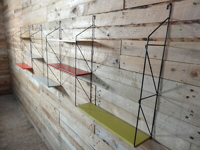 1960s RETRO VINTAGE  STRING/DUTCH COLOURED METAL TOMADO WALL SHELVING (B34)
