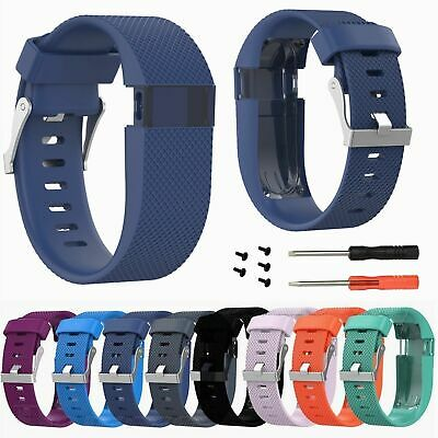 Replacement Silicone Wristband Band Strap for Fitbit Charge HR Watch w/Tool #BK