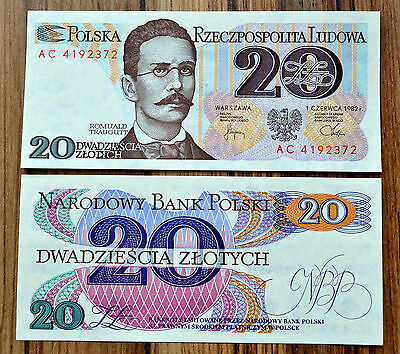 Poland  20 Zlotych 1982  P-149a2  UNC BANKNOTE CURENCY >Romuald Traugutt