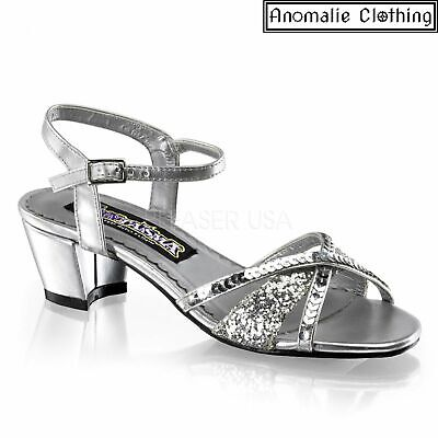 Funtasma Girls Charming Silver Glitter Sandal Rockabilly Kids Birthday Wedding