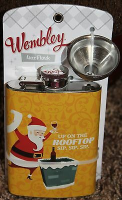 new WEMBLEY 4oz FLASK screw cap STAINLESS STEEL funnel UP ON THE ROOF TOP sip